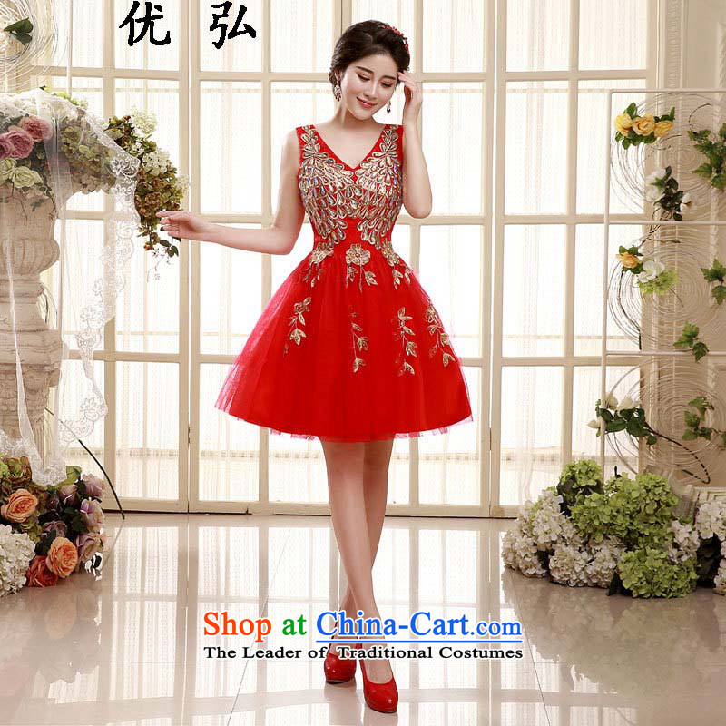 The spring and summer of 2015, Dr Philip optimize new red shoulders lace marriages of dress wine short worship services ycf006 XL