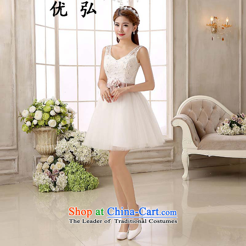 Optimize the new 2015 Hong-bridesmaid short of dress shoulders small fresh marriages bows small dress ycf007 thin graphics Sau San L