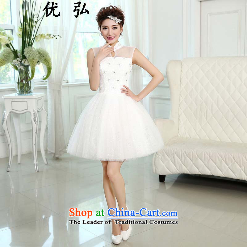 Optimize the new 2015 Hong-evening dress Korea Princess bridesmaid services white edition shoulders in a small dress ycf009 short M