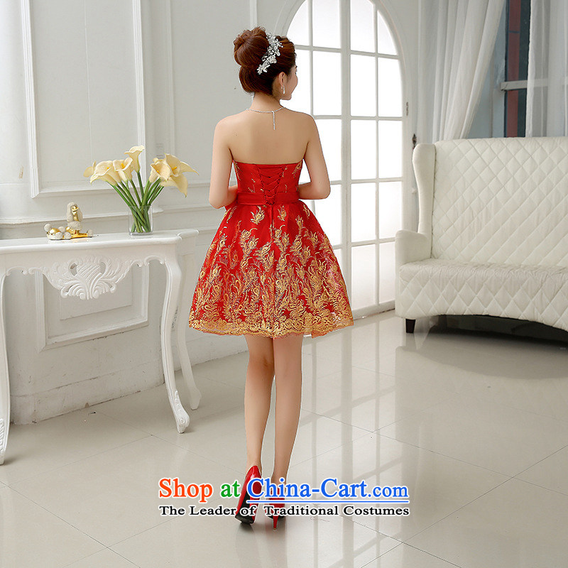 Optimize the new 2015 Hong-marriages bows banquet Korean Won Version Bow Ties On-chip short dress lace bridesmaid ycf010 S optimized small dress Philip Wong , , , shopping on the Internet