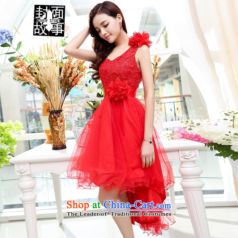 Cover Story 2015 new single large bride with shoulder bride respectfully tea Dress Short bows of wedding dresses RED?M
