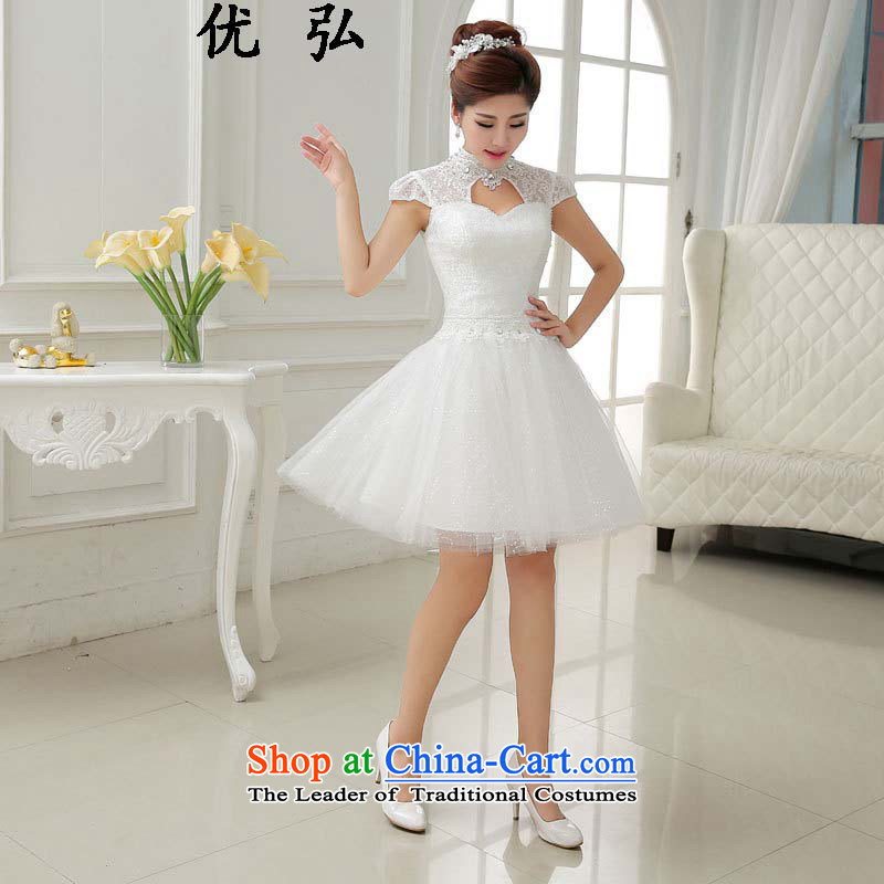 The spring and summer of 2015, Dr Philip optimize new lace short, white marriages bows services small dress skirt ycf012 M