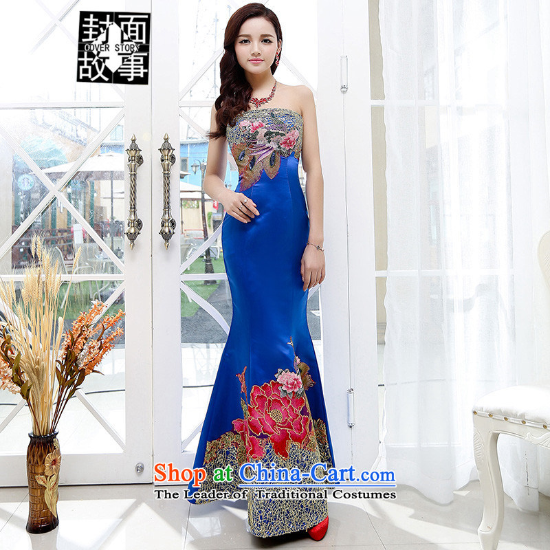 Cover Story 2015 new peacock embroidered with Chest Foutune of Sau San long gown bride respectfully tea dresses bows wedding dresses Blue M