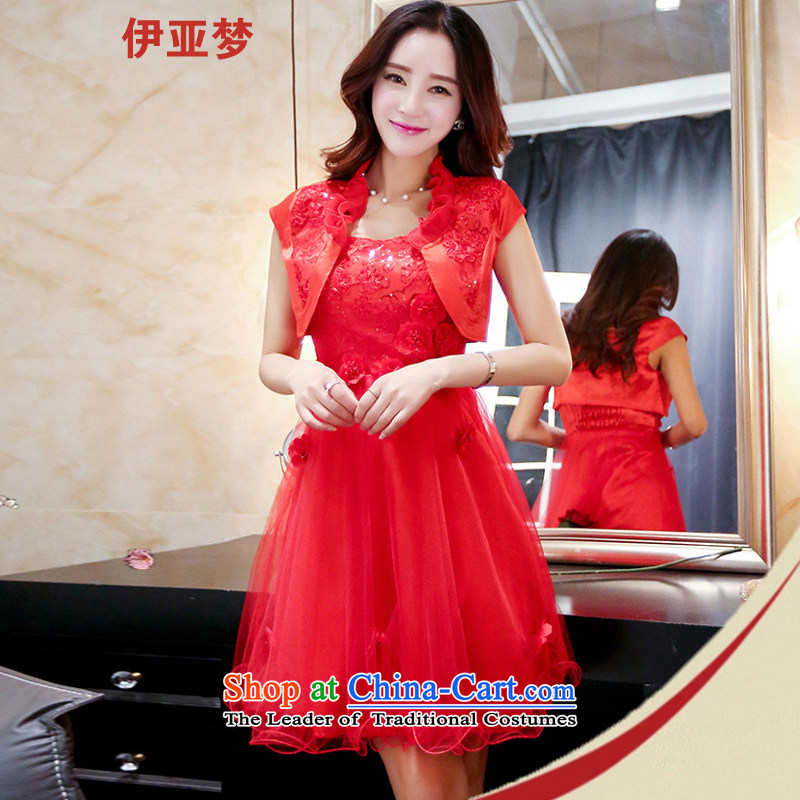 The Dream of the fourth quarter 2015 new boxed everyday dress Sau San Plate flower two kits short of dress dresses red?XXL