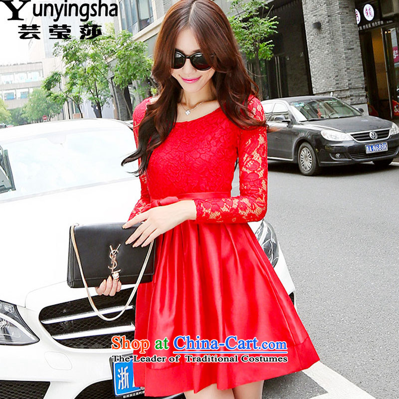 Yun-ying sa 2015 autumn and winter new red dress dresses bridesmaid services services forming the bows dresses 9724 Red?L