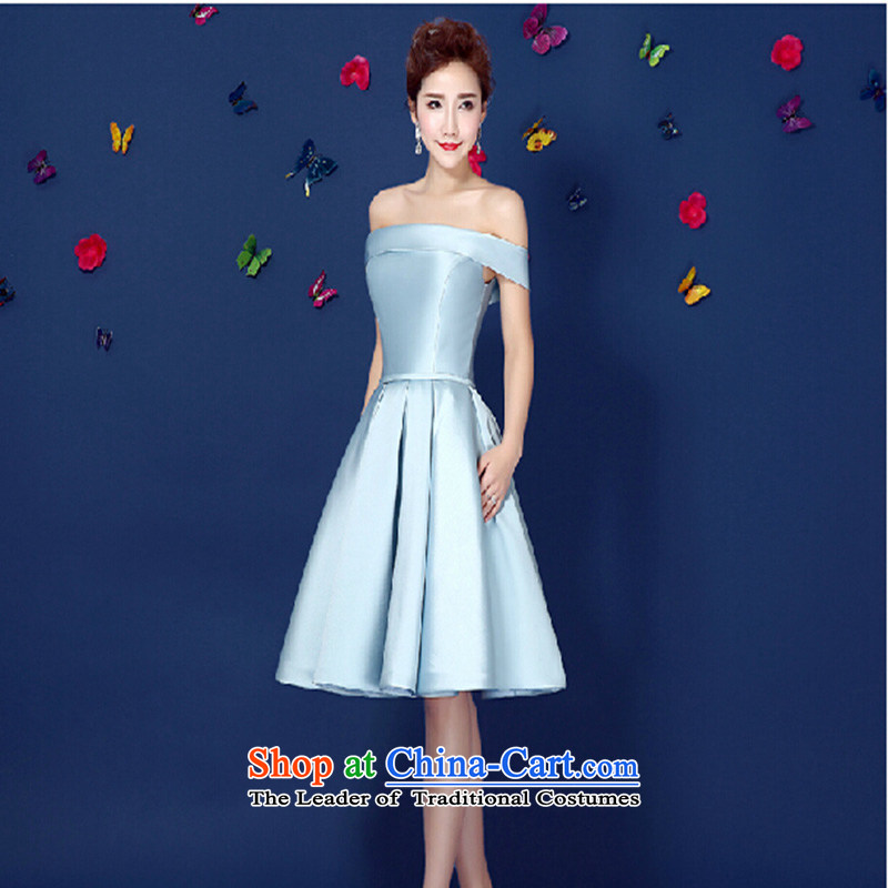 2015 Spring_Summer new light gray dress a stylish upmarket field shoulder banquet dresses gathering Dress Short of female light gray?XXL