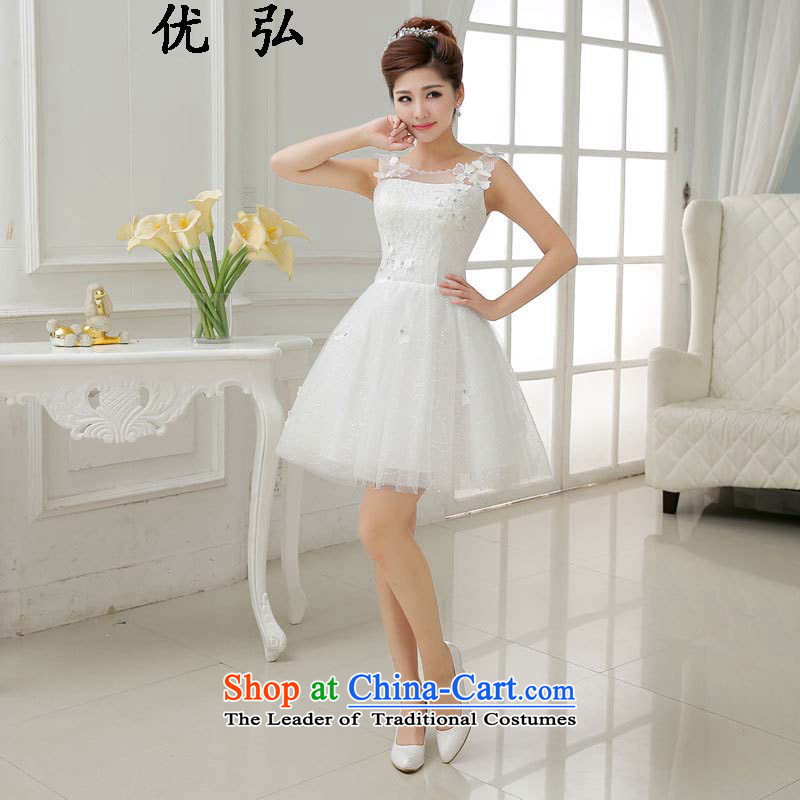 Optimize the new 2015-hong in Sau San waist white Korean lace shoulders dress ycf013 M