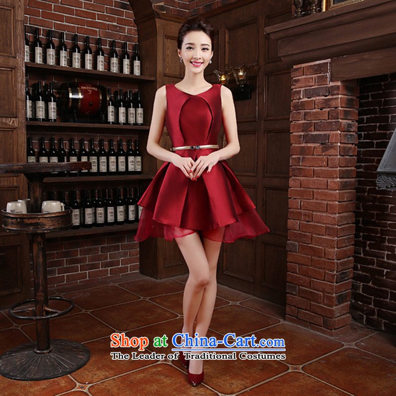The new Word 2015 shoulder marriages bows to Korean dress short, will preside over service banquet wine red made no refund is not shifting