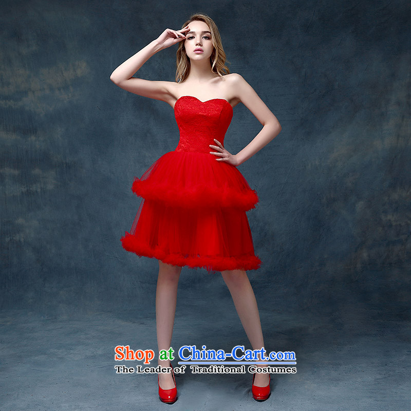 According to Lin Sha evening dresses 2015 new marriages bows services evening dress short of Korea lace dresses female red?S