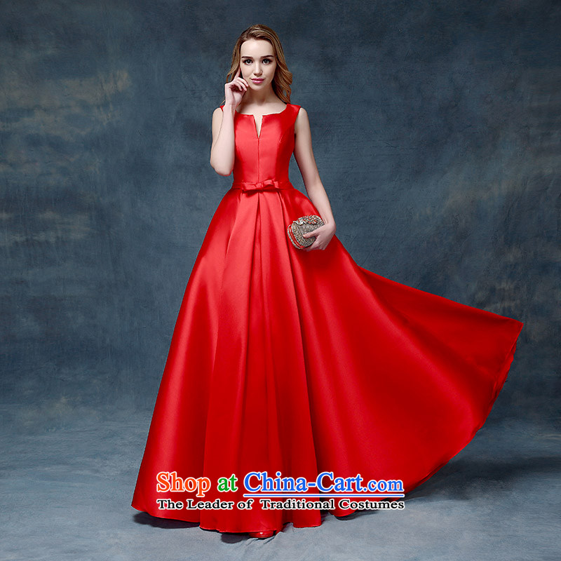 According to Lin Sha 2015 new wedding dresses bows long word to your shoulders to marriages evening dresses bride red?L