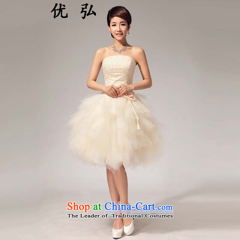 Optimize the?new 2015 Hong-wiping the chest pearl small Sau San dress sister bridesmaid short skirts ycf017 S