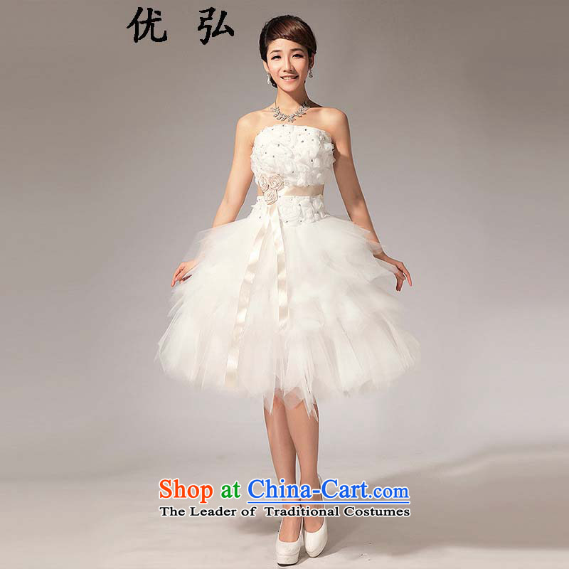 Optimize the?new 2015 Hong-wiping the Chest Flower knee bridesmaid small dresses Sau San short skirts ycf019 XL
