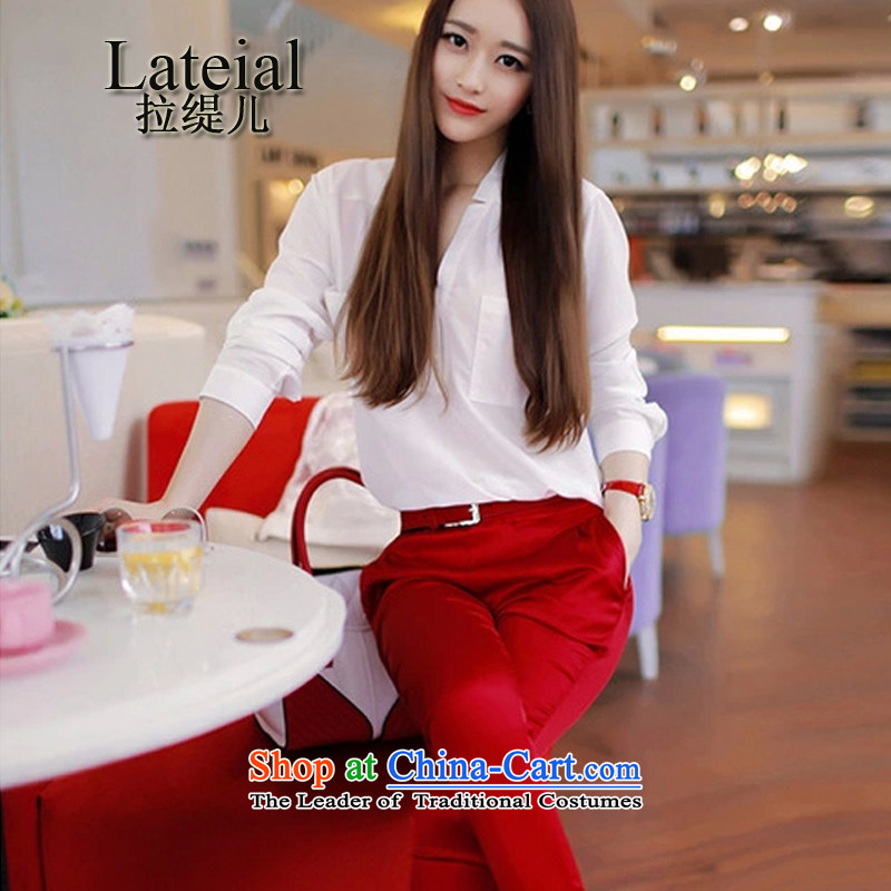 Pull economy-summer 2015 new western spring women white shirt + castor trouser press kit two of the aristocratic noble red?L