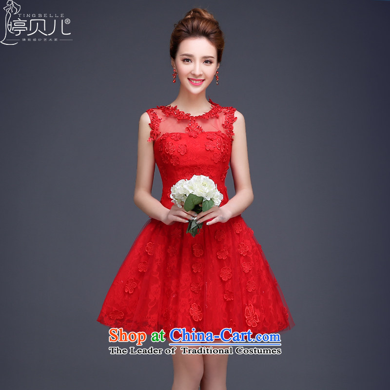Beverly Ting bride bows to the spring 2015 the new bride winter Wedding Dress Short of red lace shoulders evening dresses Female dress dresses sleeveless red S
