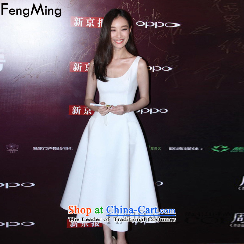 Hsbc Holdings plc European and American big temperament Martin stars with the singlet dress female minimalist A Skirt 2015 Autumn New, ivory_BELT?M