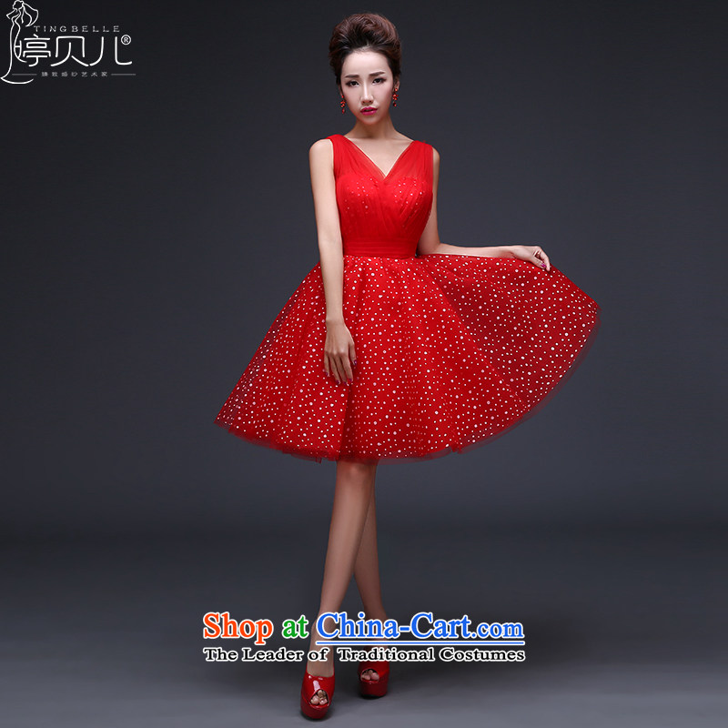 Beverly Ting bridesmaid dress new spring 2015 marriages evening dresses stylish shoulders Sau San bows services red summer short of Female dress dresses RED聽M