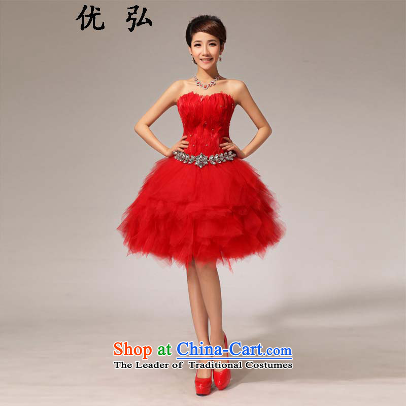Optimize the?new 2015 Hong-red anointed chest dress water drilling bows service     Small dress ycf022 XL