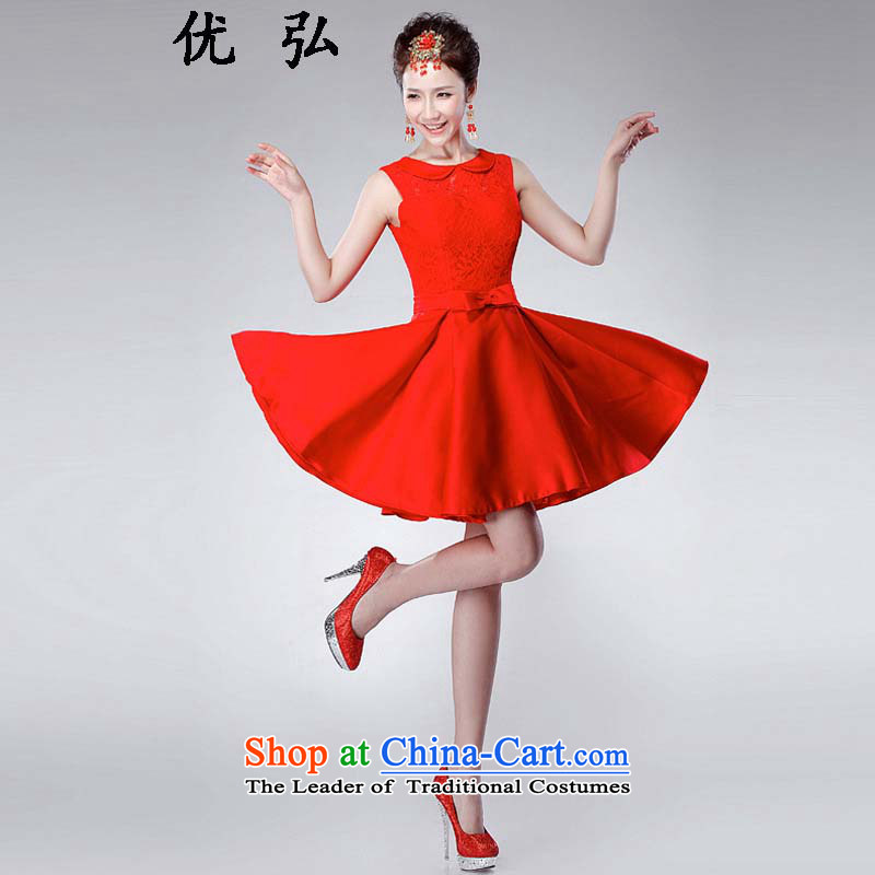 Optimize the New Korea 2015-hong the wedding-dress red lace shoulders and sexy marriage bows service in a small dress ycf023 L