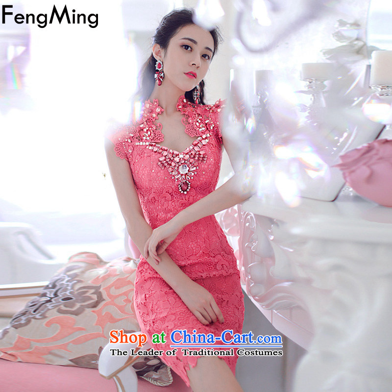 Hsbc Holdings plc Ming heavy industry staples bead dress girl with Moonlight Serenade aristocratic temperament diamond water-soluble lace dresses in the autumn of 2015, the new Red�L