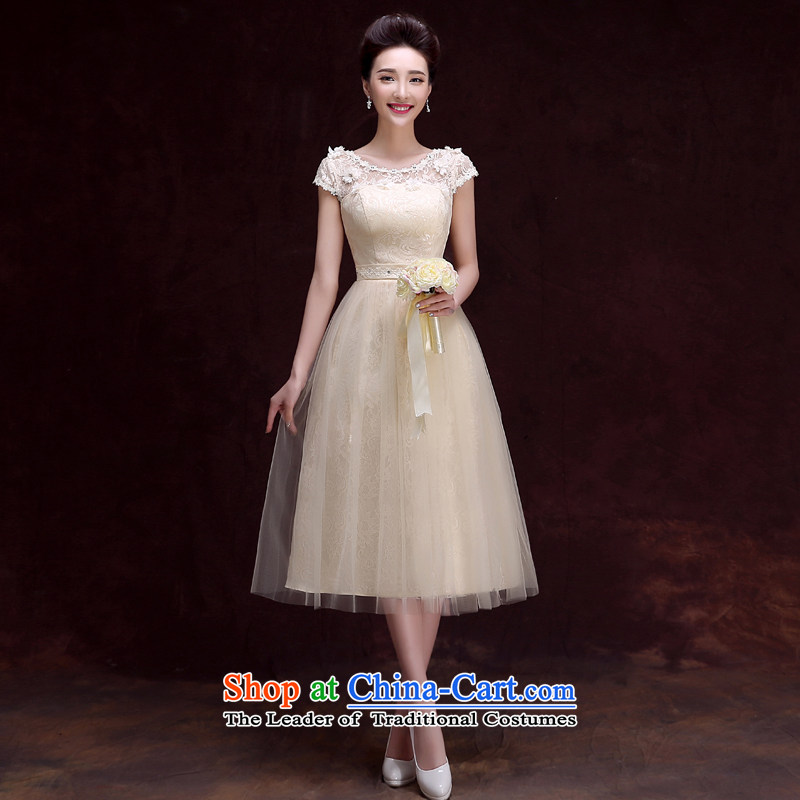 The privilege of serving-leung 2015 new bridesmaid services in the summer and fall of champagne color long small dress bridesmaid mission sister skirt dress?607- shoulders side of the champagne color in long bridesmaid services?L