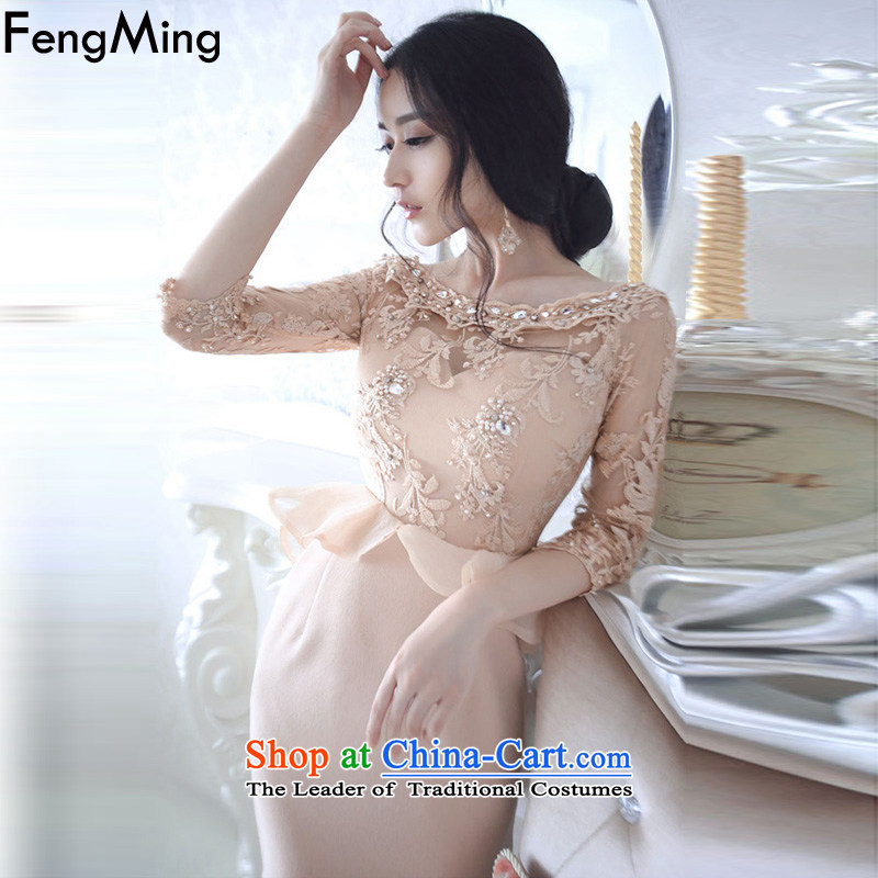 Hsbc Holdings plc Ming Moonlight Serenade Of the same name Yuan temperament nets heavy industry diamond billowy flounces dress skirt female dresses autumn 2015 new picture color M