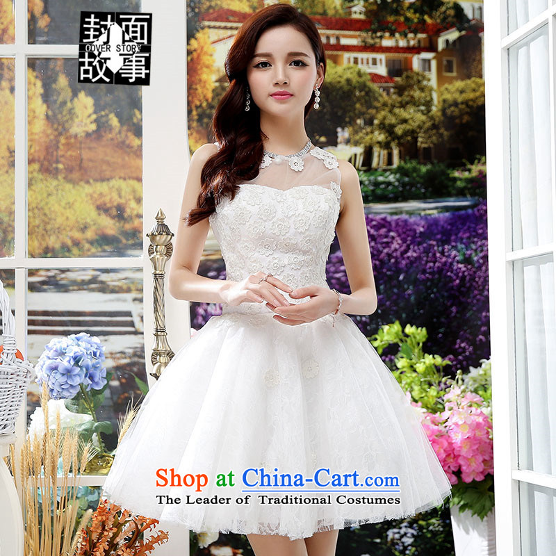 Cover Story 2015 new fluoroscopy breast round-neck collar bon bon skirt bridal dresses bridesmaid dresses small dresses white L