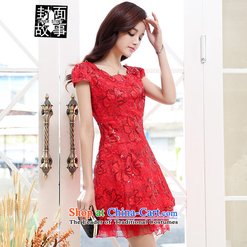 Cover Story 2015 new three-dimensional flower short-sleeved bride respectfully Tea Small dress bride replacing wedding dress dresses female red XL
