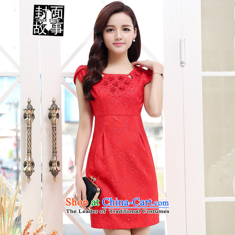 Cover Story 2015 NEW PEARL FLOWER string short-sleeved Foutune of short of Sau San bridal dresses bows dress brides small red�XXL