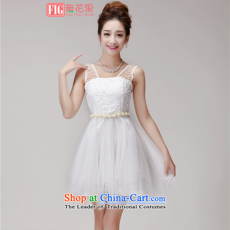 Figs 2015 Summer new lace hook Flower nail pearl elastic waist strain nets bridesmaid dress chiffon skirt dresses female summer white�L