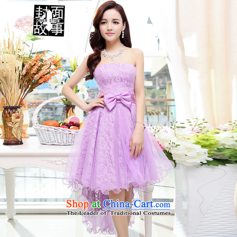 Cover Story 2015 new anointed chest dovetail Foutune of Sau San marriage small dress bride with a drink on the bride wedding dresses purple�L