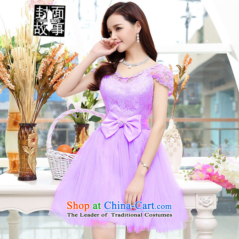 Cover Story 2015 new Korean elegant humorous Bow Tie Foutune of marriage small dress bride replacing bridesmaid dress dresses purple�L