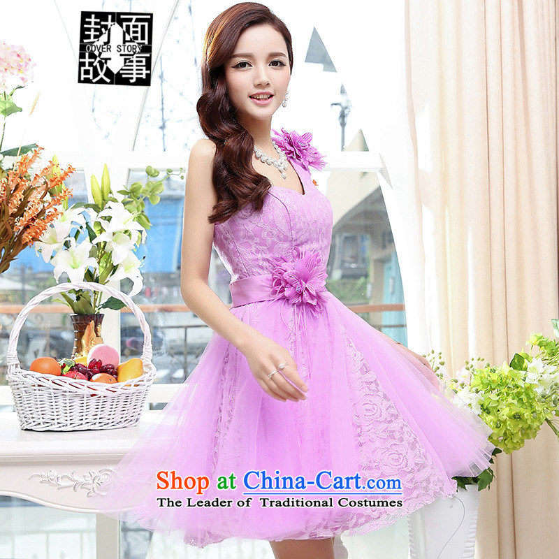 Cover story in the summer of 2015, a new stylish sexy anointed chest bon bon skirt bridal dresses bridesmaid small load bride wedding dress purple聽L