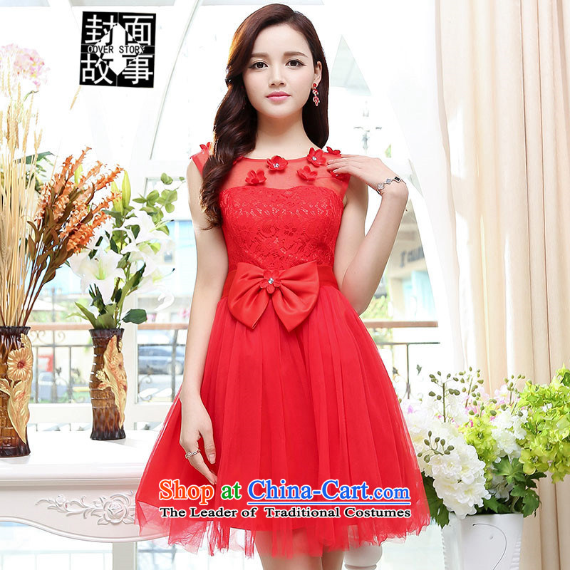 2015 Summer cover story elegant ladies chiffon embroidery sleeveless dresses dress large skirt sister replacing bridesmaid Service Bridal Red聽XL
