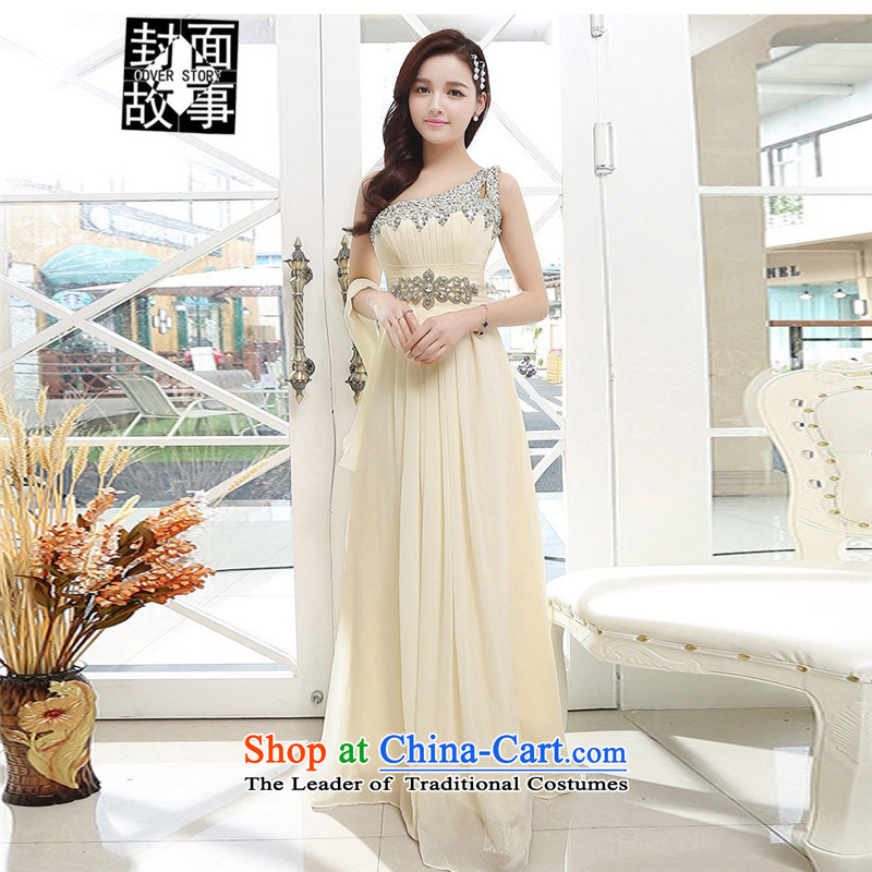 Cover Story�2015 Amoi Korean shoulder Beveled Shoulder back chiffon long skirt bridal dresses bridesmaid dress bows services apricot�L