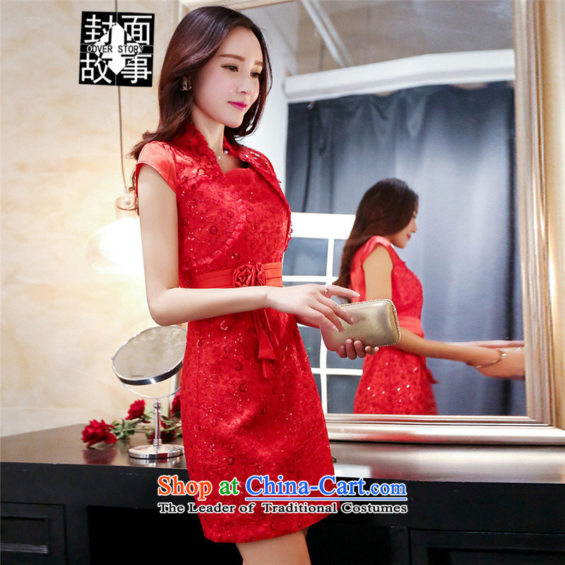 Cover Story in spring and summer 2015 Red wedding dresses married women with a drink clause wedding-dress banquet hosted performances evening service red?L