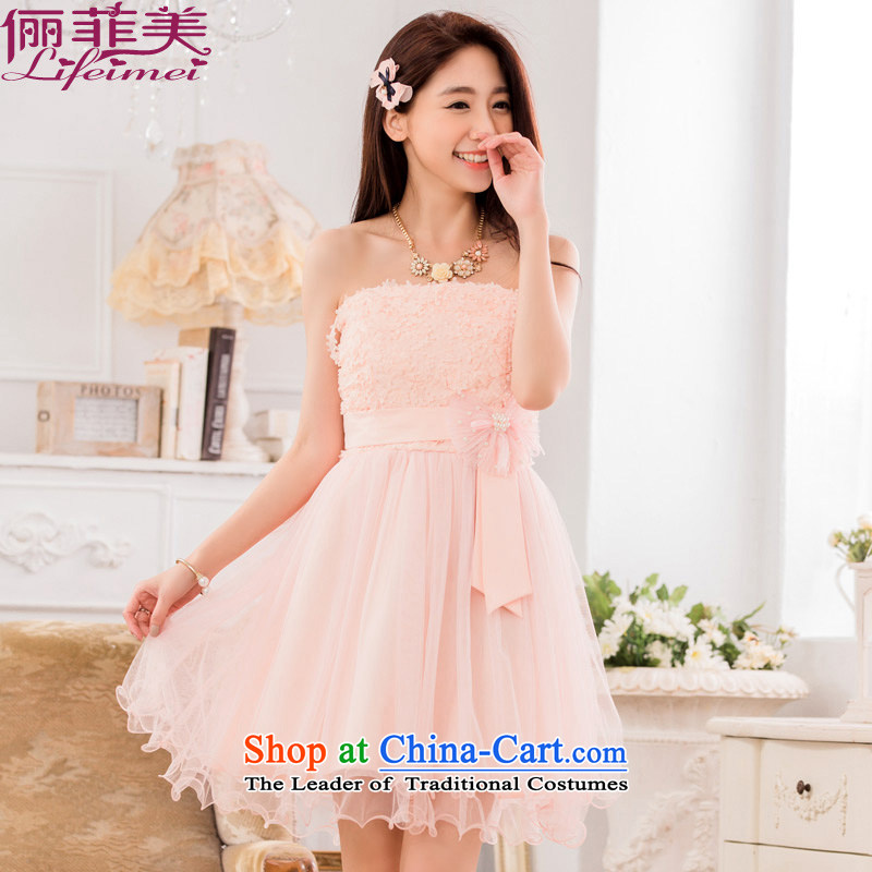 Li and the sweet stereo Chest Flower wiping the breast height waist sweet Bow Tie Princess skirt bridesmaid sister in large numbers of small pink dresses�XXL 135-155 for a catty