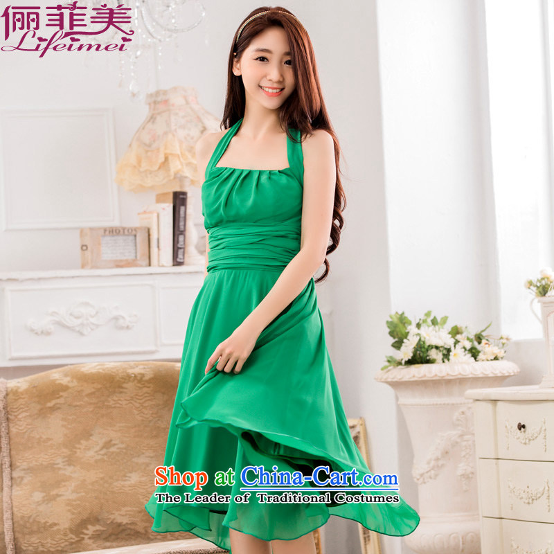 Li and the western style a big placard pressure folds video thin large chiffon evening dress code in the long skirt (with green belts)�XL suitable for 120-140 catty