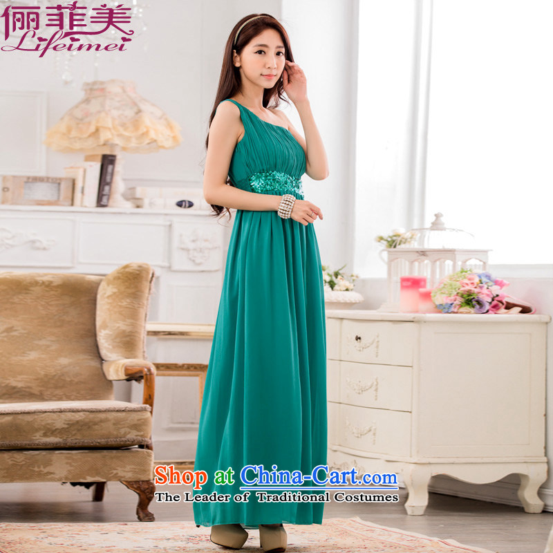 158 and Ultra Single shoulder higher waist Foutune of graphics and slender version chiffon evening dress code manually staple Mun-zhuhai goddess van dresses green will? F 85-115 for coal