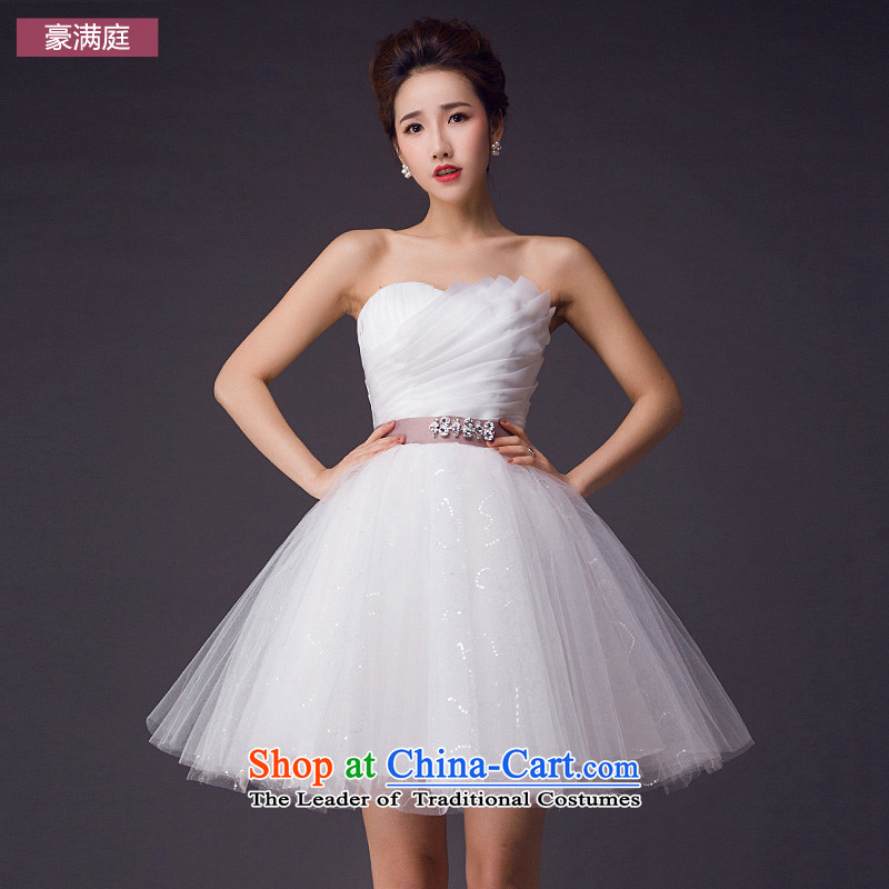 Wedding dresses 2015 Summer new short skirt wedding wedding party show White gauze straps and chest small dress White�M