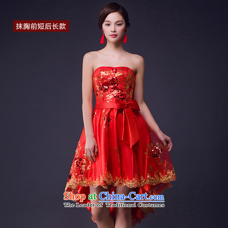 The bride services shortage of bows spring and summer, Red Dress evening before the shoulder of a field length after wiping the chest more cuff option to erase chest long�XL