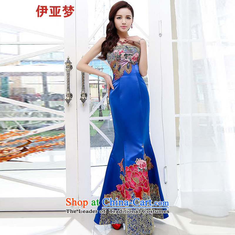 The 2015 summer dream new women's Retro classic Embroidery Stamp out of Sau San chest long crowsfoot wedding dresses marriage with blue S