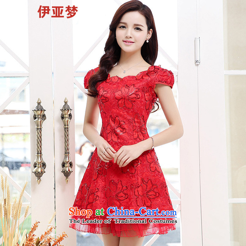 The 2015 summer dream girl who is stylish decoration piece nail Lace Embroidery daily pearl small dress bride with a drink service RED�M