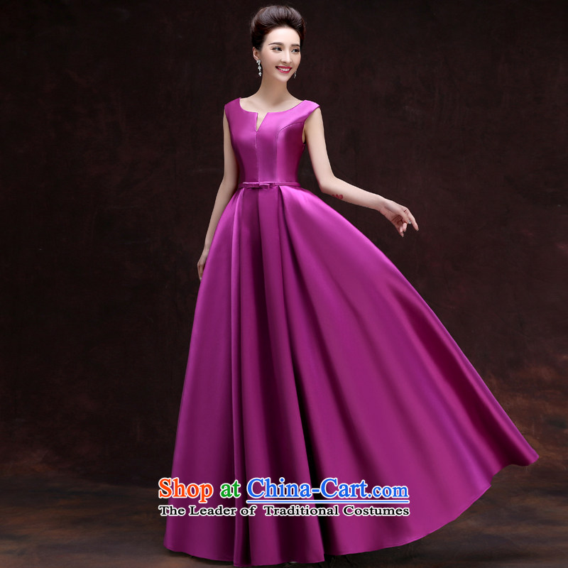 The privilege of serving-leung 2015 banquet moderator evening dresses new summer and fall of long, sister mission bridesmaid services dress female purple聽XL