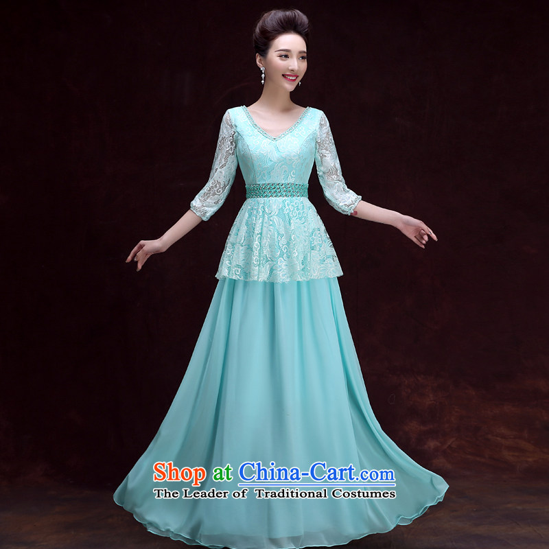 The privilege of serving-leung 2015 new dresses and sisters Ms. skirt bridesmaid mission banquet evening dresses long moderator dress ice blue聽XL
