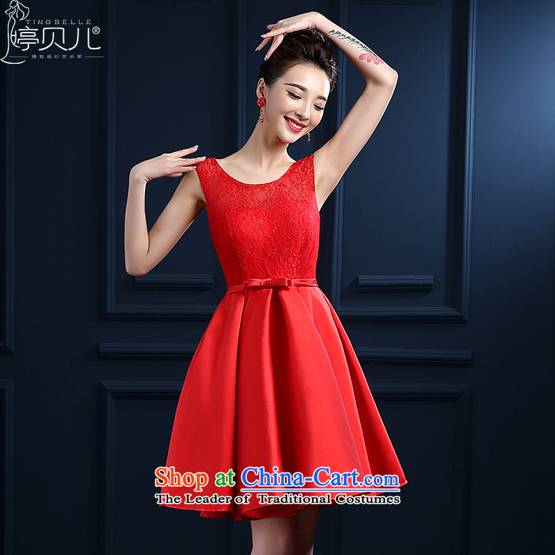 Beverly Ting bride bows services new spring and summer 2015 wedding dresses red shoulders short, lace banquet evening dresses skirts married female depilation chest bridesmaid fluoroscopy services red L