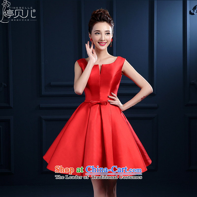 Beverly Ting聽2015 new bride bows to the spring and summer Red slotted shoulder short of marriage betrothal small dress skirt dress female integrated banquet with Sau San Red聽XL