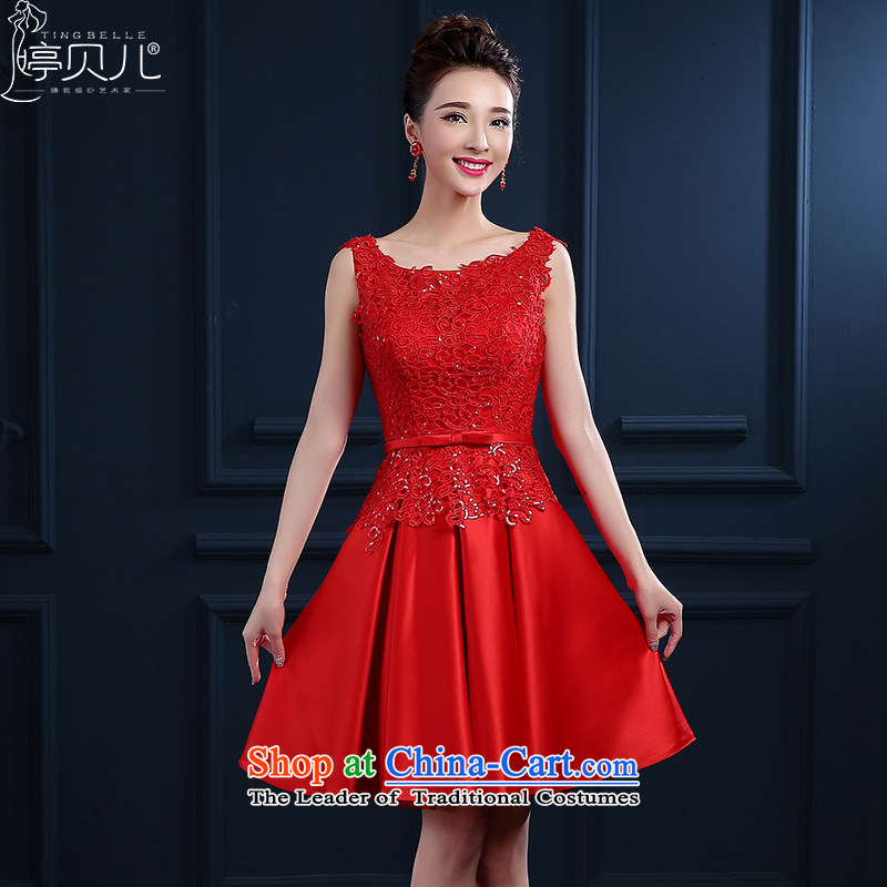 Beverly Ting bows Service Bridal Spring 2015 new wedding dresses skirt red shoulders short, lace married female summer evening dresses betrothal small dress banquet red聽XL