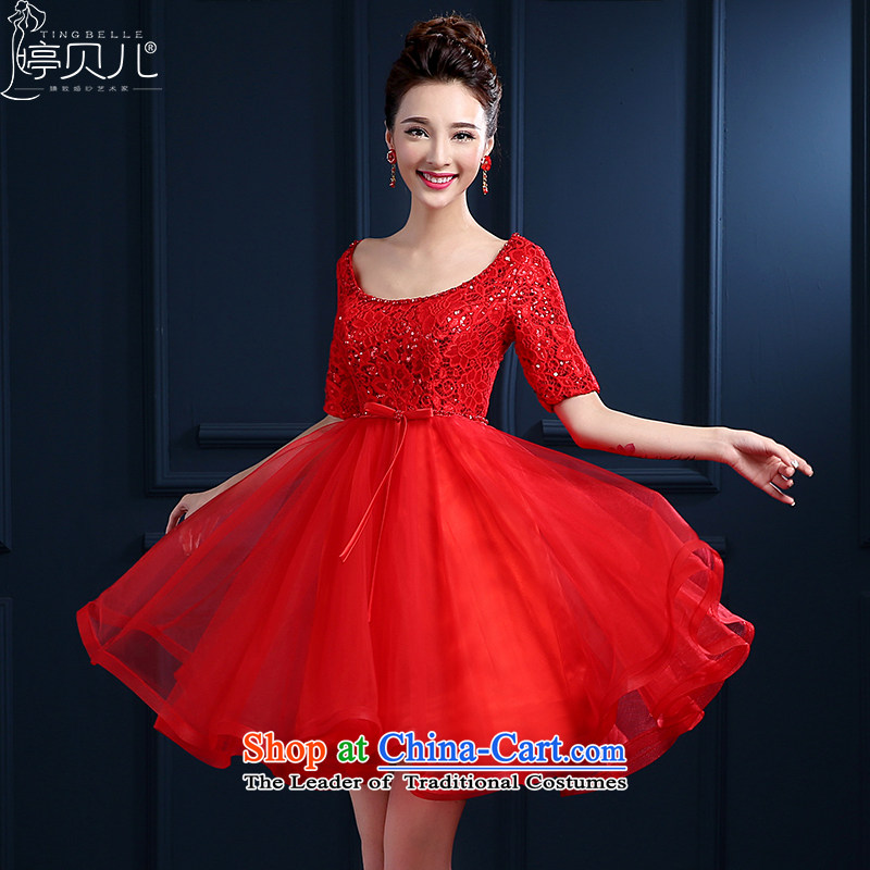 Beverly Ting 2015 New Service Bridal spring bows red short of a wedding dress field shoulder lace banquet evening dresses large summer Girls High waist straps dress skirt red S