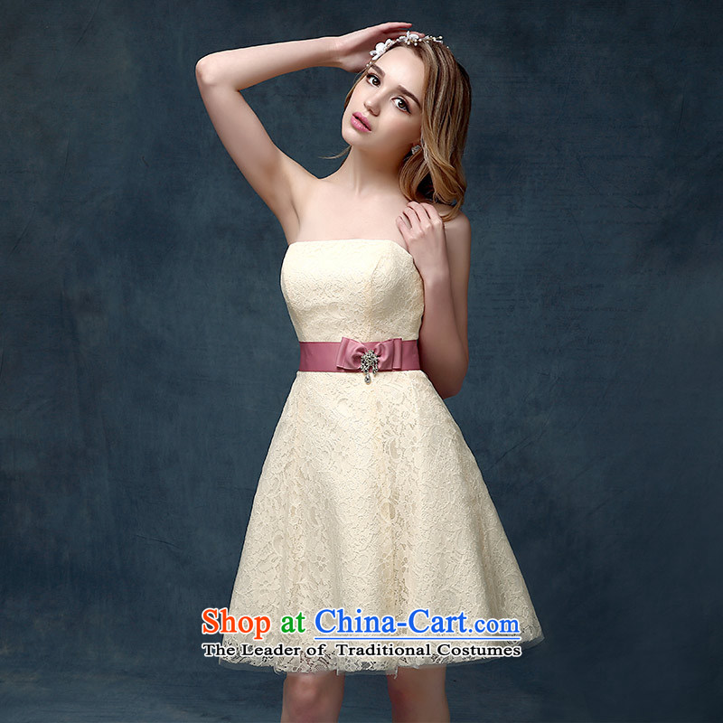 According to Lin Sha bridesmaid services 2015 new spring and summer gown short of mission sister marriages bows services evening dresses champagne color�S