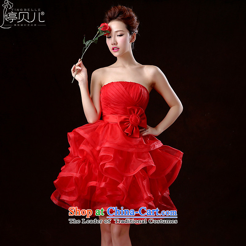 Beverly Ting聽2015 New Service Bridal wedding dresses bows spring and summer short of red dress wiping the chest banquet bon bon skirt the betrothal small red dress聽S